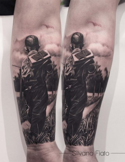 Silvano fiato child tattoo sleeve realism