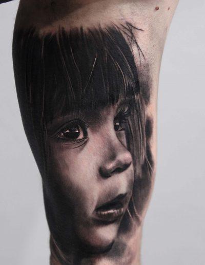 silvano fiato baby portrait realism tattoo copia