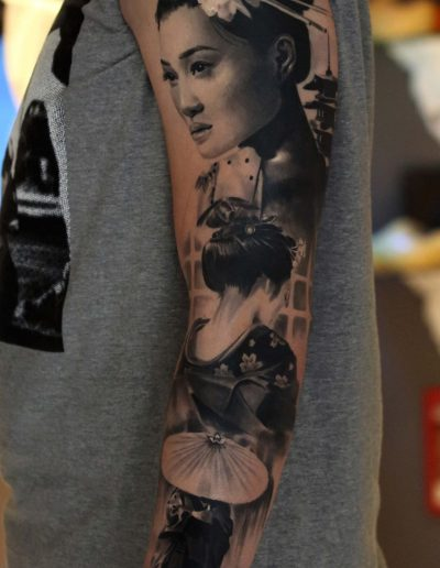silvano fiato geisha tattoo real sleeve small