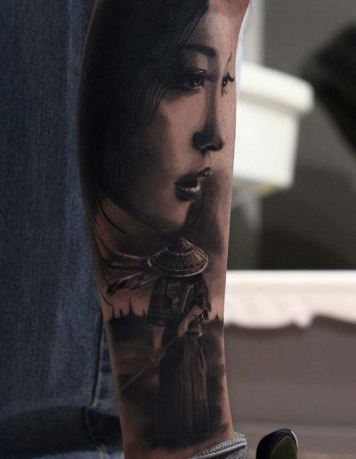 silvano fiato tattoo realistic giappo geisha small